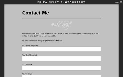 Screenshot of Contact Page erikanelly.com - Contact Page for Erika Nelly Photography - captured Oct. 2, 2014