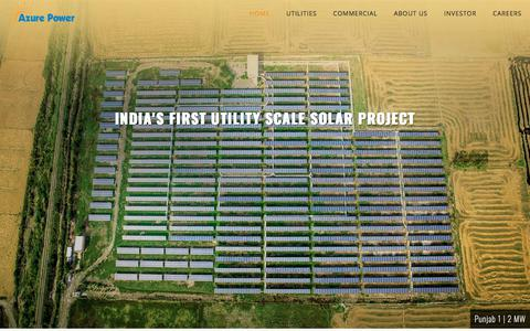 Screenshot of Home Page azurepower.com - Azure Power - A Leading Solar Power Company in India - captured July 12, 2018