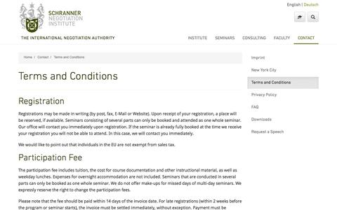 Screenshot of Terms Page schranner.com - Terms and Conditions - captured Nov. 19, 2016