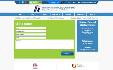 Screenshot of Contact Page flagpoles.co.uk - Harrisons EDS | Contact Us - captured Oct. 2, 2014