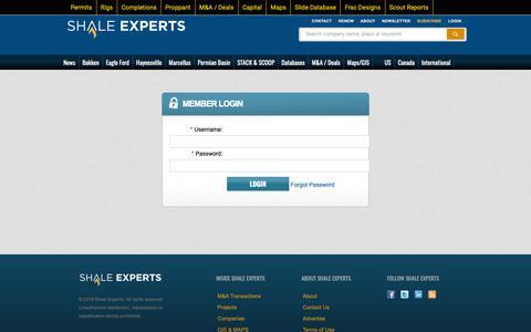 Screenshot of Login Page shaleexperts.com - Shale Experts -  Member Login - captured Oct. 20, 2018