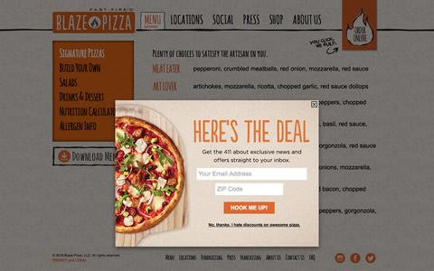 Screenshot of Menu Page blazepizza.com - Menu - Blaze Pizza - captured Feb. 10, 2016