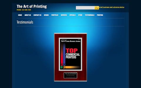 Screenshot of Testimonials Page tapwestpalm.com - The Art of Printing | Testimonials - captured Oct. 7, 2014
