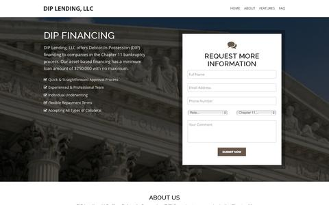 Screenshot of About Page FAQ Page diplending.com - Debtor-In-Possession (DIP) Financing - DIP Lending, LLC - captured Oct. 5, 2014