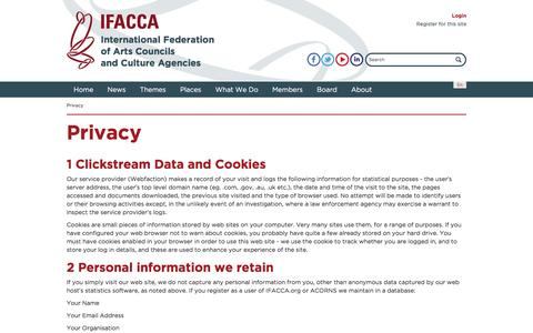 Screenshot of Privacy Page ifacca.org - Privacy | IFACCA - International Federation of Arts Councils and Culture Agencies - captured Nov. 18, 2016