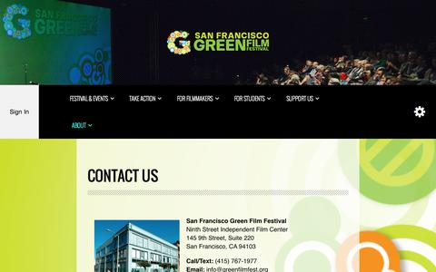 Screenshot of Contact Page greenfilmfest.org - Contact Us - San Francisco Green Film Festival - captured Nov. 2, 2014