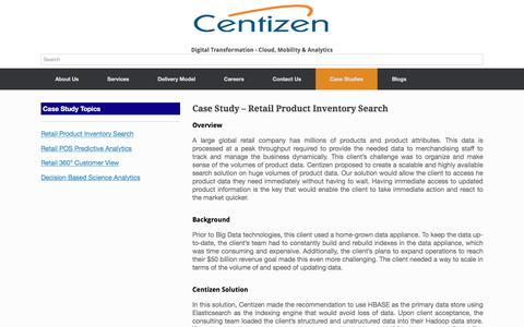 Screenshot of Case Studies Page centizen.com - Case Study – Big Data - AWS - Retail Product Inventory Search - captured May 15, 2017