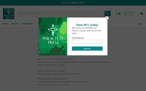 Screenshot of FAQ Page paracletepress.com - FAQs — Paraclete Press - captured Nov. 4, 2018