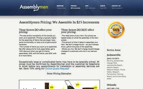Screenshot of Pricing Page theassemblymen.com - Pricing «  Assembly Service   IKEA Furniture Assembly   Jacksonville and Orlando - captured Oct. 4, 2014