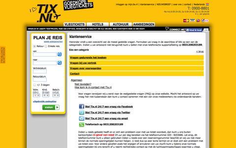 Screenshot of Contact Page tix.nl - Tix.nl, klantenservice, Hoe kom ik in contact met Tix.nl - captured Sept. 25, 2014