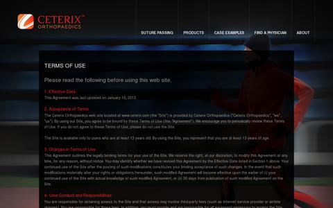 Screenshot of Terms Page ceterix.com - Terms of Use  |  Ceterix Orthopaedics - captured July 19, 2014