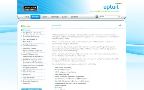 Screenshot of Services Page aptuit.com - Pharmaceutical Drug Development Services   Aptuit - captured Sept. 30, 2014