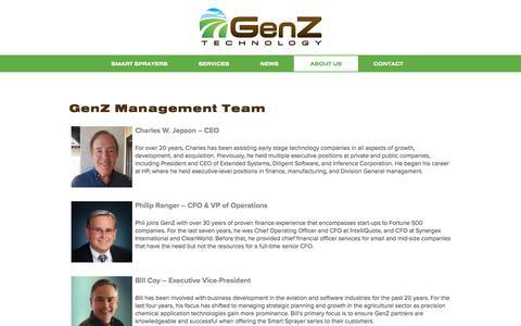 Screenshot of About Page genztechnology.com - Management – GenZ Technology - captured July 17, 2018