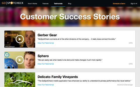 Screenshot of Testimonials Page gospotcheck.com - GoSpotCheck Customer Success Stories - captured Sept. 16, 2014