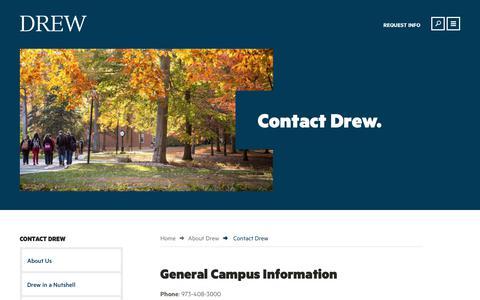 Screenshot of Contact Page drew.edu - Contact Drew | Drew University - captured July 2, 2017