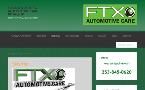 Screenshot of Services Page ftxautocare.com - Services - FTX Auto Repair & Automotive Care Puyallup - captured March 12, 2016