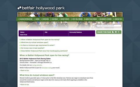 Screenshot of FAQ Page betfairhollywoodpark.com - Hollywood Park • FAQ - captured Oct. 3, 2014