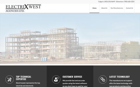 Screenshot of Home Page electrixwest.com - Electrical Manufactures' Agent   LED Lighting   Flood Lights RC Lighting  Electrixwest - captured July 23, 2017