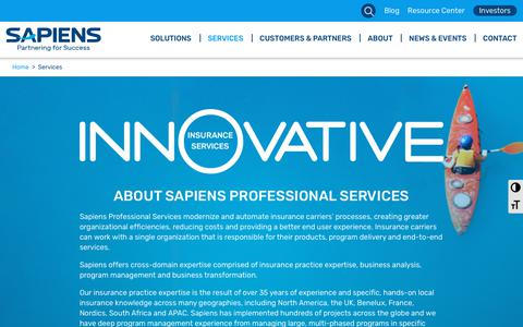 Screenshot of Services Page sapiens.com - Services | Insurance Software Solutions - captured Feb. 7, 2019