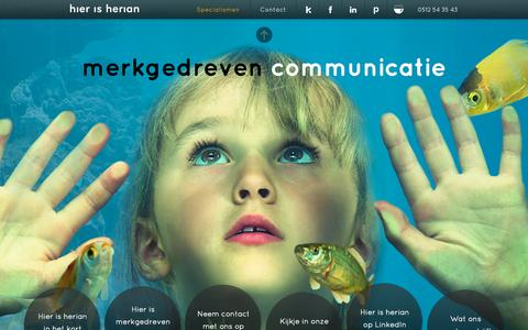 Screenshot of Home Page hierisherian.nl - Herian | Merkgedreven communicatie | Verpakkingen | Noord Nederland - captured Oct. 2, 2014
