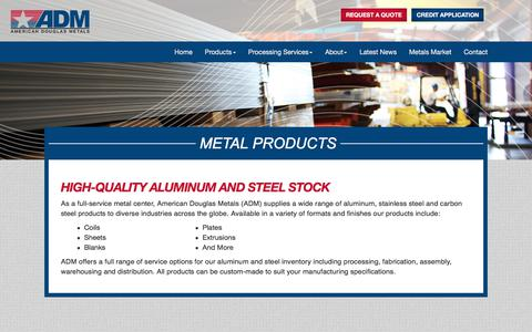 Screenshot of Products Page americandouglasmetals.com - Metal Products | American Douglas Metals - captured Oct. 8, 2017