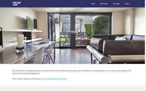 Screenshot of Press Page housetrip.com - HouseTrip.com – Holiday Lettings, Apartments, Villas & more worldwide - captured May 5, 2016