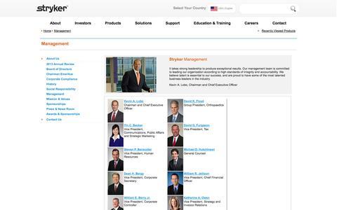 Screenshot of Team Page stryker.com - About Us  -  Management  : Stryker - captured Sept. 19, 2014