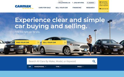 Screenshot of Home Page carmax.com - CarMax - Browse used cars and new cars online - captured Feb. 15, 2018