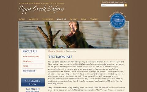 Screenshot of Testimonials Page hippocreeksafaris.com - Hippo Creek Safaris - captured Sept. 30, 2014