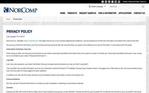 Screenshot of Privacy Page norcomp.net - Privacy Policy | NorComp - captured Nov. 14, 2017
