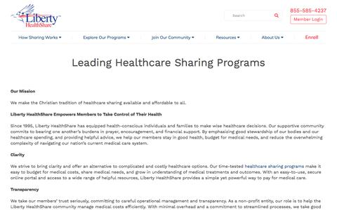 Screenshot of About Page libertyhealthshare.org - Leading Healthcare Sharing Programs   Liberty HealthShare - captured Nov. 7, 2019
