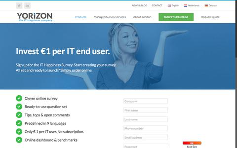 Screenshot of Pricing Page yorizongroup.com - Get started with the IT Happiness Quickscan. Pricing Quickscan - only €1 per IT User. - captured Aug. 5, 2017