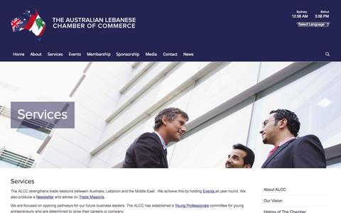Screenshot of Services Page alcc.com.au - Services - The Australian Lebanese Chamber of Commerce - captured Oct. 26, 2014