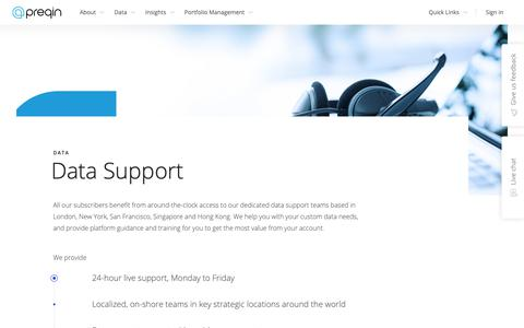Screenshot of Support Page preqin.com - Data Support - Client Services | Preqin - captured Oct. 18, 2018