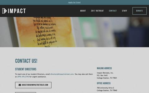 Screenshot of Contact Page impactretreat.com - Contact Us — Impact Ministries - captured Nov. 26, 2016