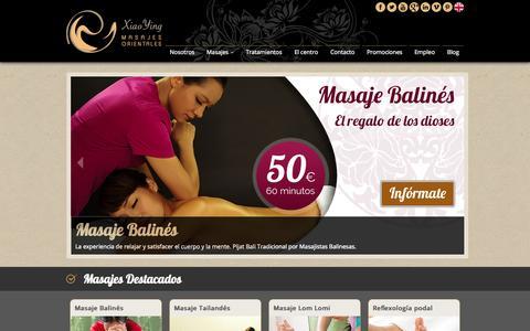 Screenshot of Home Page masajes-xiaoying-madrid.com - Centro de Masajes Orientales Xiao Ying - Madrid - Massage - captured Oct. 2, 2014