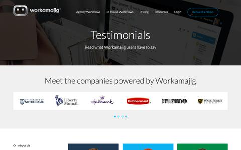 Screenshot of Testimonials Page workamajig.com - Workamajig Client Testimonials - captured June 17, 2019