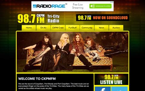 Screenshot of Home Page ckpmfm.com - CKPM 98.7 FM | The Tri Cities Local Radio Station - captured Oct. 10, 2015