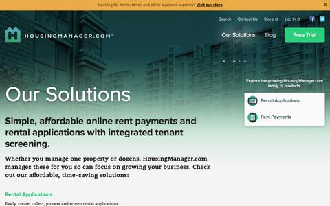 Screenshot of Products Page housingmanager.com - Our Solutions - HousingManager.com - captured Nov. 2, 2014