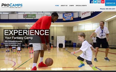 Screenshot of Home Page procamps.com - Welcome to ProCamps - captured Sept. 23, 2014