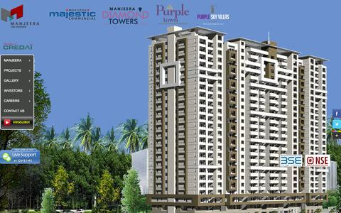 Screenshot of Home Page manjeera.com - Luxury apartments, flats & commercial properties for sale in Hyderabad - captured Sept. 19, 2014