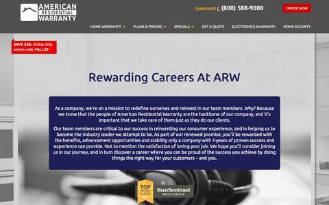 Screenshot of Jobs Page getahomeplan.com - Careers | American Residential Warranty - captured Oct. 8, 2017