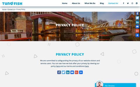Screenshot of Privacy Page tunafishmedia.co.uk - Privacy Policy ⋆ Tunafish Media - captured Sept. 21, 2018