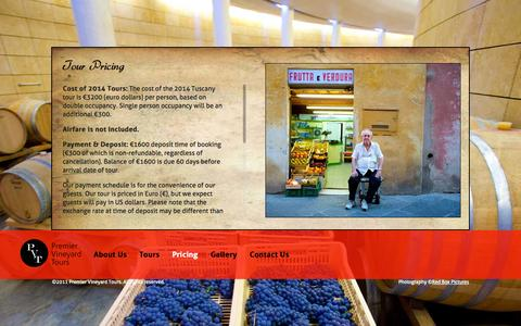 Screenshot of Pricing Page premiervineyardtours.com - Tour Pricing   Premier Vineyard Tours - captured Sept. 30, 2014