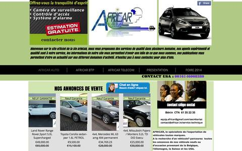Screenshot of Home Page africarequip.com - AFRICAR - captured Oct. 4, 2014
