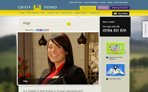 Screenshot of FAQ Page crieffhydro.com - Frequently Asked Questions (FAQs) about Crieff Hydro hotel - captured Sept. 23, 2014