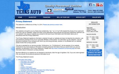 Screenshot of Privacy Page texasautoonline.com - Used Car Dealer & Direct Service Provider | Houston TX | Texas Auto - captured Oct. 26, 2014