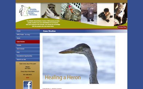 Screenshot of Case Studies Page wrcmn.org - Wildlife Rehabilitation Center :: WRCMN - captured Oct. 7, 2014
