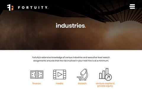 Screenshot of Press Page fortuitysearchgroup.com - Executive Search Industries | Fortuity Search Group - captured Aug. 20, 2018