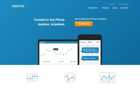 Screenshot of Home Page nexmo.com - Nexmo - APIs for SMS, Voice and Phone Verifications - captured Oct. 1, 2015